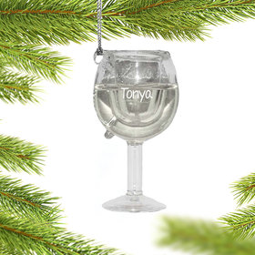 Personalized White Wine Glass Christmas Ornament