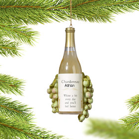 Personalized Chardonnay Wine Bottle with Grapes Christmas Ornament