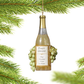 Personalized Pinot Grigio Wine Bottle with Grapes Christmas Ornament