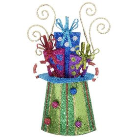 Personalized Top Hat with Presents (Blue Rim) Christmas Ornament