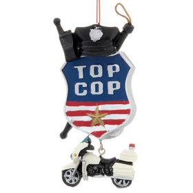 Top Cop with Motorcycle Christmas Ornament
