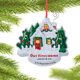 Personalized Our First Home White House with Picket Fence Christmas Ornament