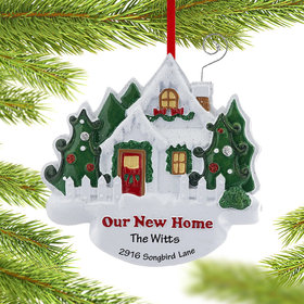 Personalized Our New Home White House with Picket Fence Christmas Ornament