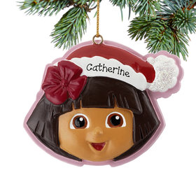 Personalized Dora Wearing A Santa Hat Christmas Ornament