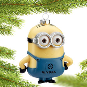 Personalized Despicable Me Minion Dave (two eyes) Christmas Ornament