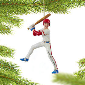 Personalized Baseball Player in Batting Stance Christmas Ornament