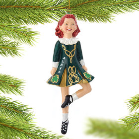 Personalized Irish Dancer in Traditional Irish Dress Christmas Ornament