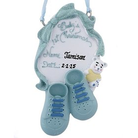 Personalized Baby's 1st Christmas Shoes (Boy) Christmas Ornament