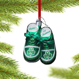 Personalized Irish Baby's 1st Christmas Shoes (Green) Christmas Ornament