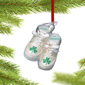 Irish Baby's First Christmas Shoes (Antique White) Christmas Ornament