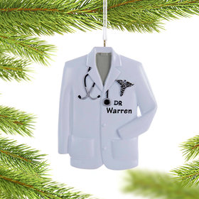 Personalized Doctor Lab Coat with Caduceus Symbol Christmas Ornament