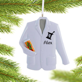 Personalized Pharmacist Lab Coat with Prescription Recipe Symbol Christmas Ornament