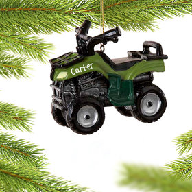 Personalized ATV in Green Christmas Ornament