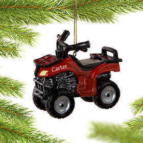 Personalized ATV in Red Christmas Ornament
