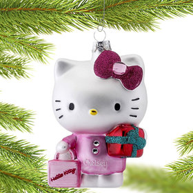 Personalized Hello Kitty with Shopping Bag and Present Christmas Ornament