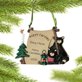 Personalized Happy Campers Bears in Tent Christmas Ornament