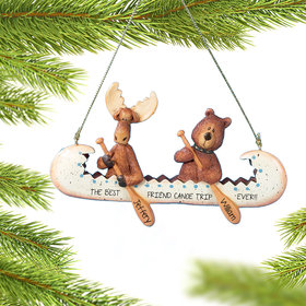 Personalized Bear and Moose in Canoe Christmas Ornament
