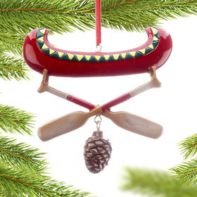 Red Canoe Couple Christmas Ornament