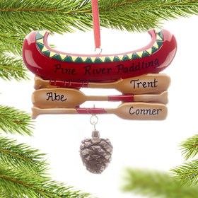 Personalized Red Canoe Family of 3 Christmas Ornament