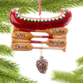 Personalized Red Canoe Family of 4 Christmas Ornament