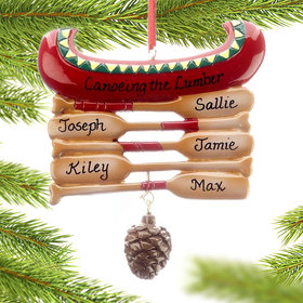 Personalized Red Canoe Family of 5 Christmas Ornament