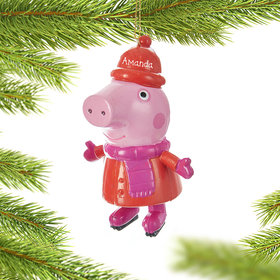 Personalized Skating Peppa Pig Christmas Ornament