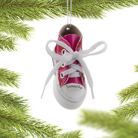 Personalized Dark Pink Heart Sneaker Christmas Ornament
