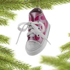 Personalized Light Pink Heart Sneaker Christmas Ornament