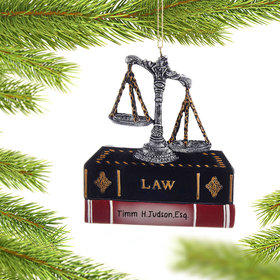 Personalized Lawyer Justice Scales and Books Christmas Ornament