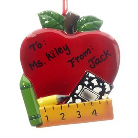 Personalized Red Teacher Apple Christmas Ornament
