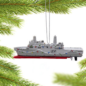 Personalized Navy Ship Christmas Ornament