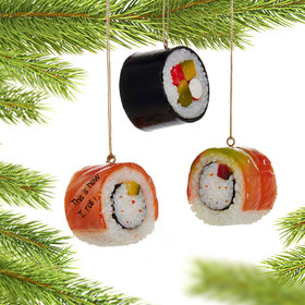 Personalized Sushi Rolls (Set of 3) Christmas Ornament