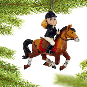 Personalized Young Equestrian Horse Rider (Brown Horse) Christmas Ornament