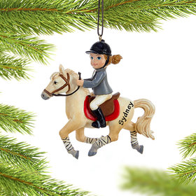 Personalized Young Equestrian Horse Rider (White Horse) Christmas Ornament