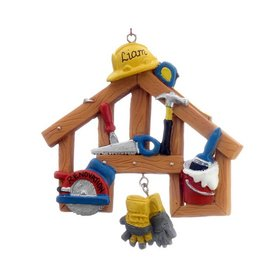 Personalized Home Remodel Construction Tools Christmas Ornament