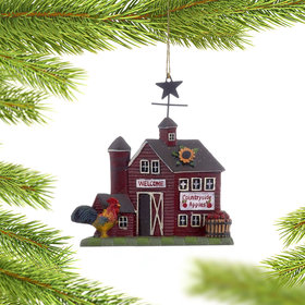 Personalized Barnyard (Red Silo) Christmas Ornament