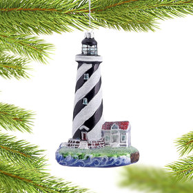 Personalized Black and White Striped Lighthouse Christmas Ornament