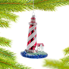 Personalized Red and White Striped Lighthouse Christmas Ornament