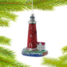 Personalized Red Lighthouse Christmas Ornament