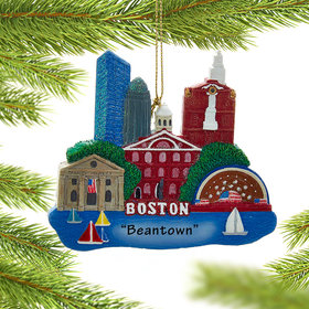 Personalized Boston Scene Christmas Ornament