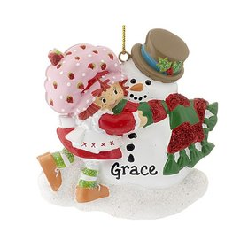 Personalized Strawberry Shortcake with Snowman Christmas Ornament