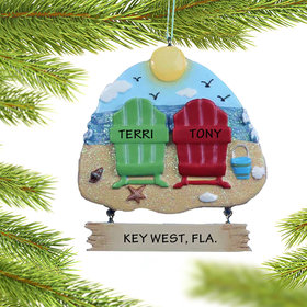 Personalized Adirondack Beach Chairs 2 Christmas Ornament