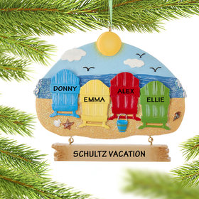 Personalized Adirondack Beach Chairs 4 Christmas Ornament