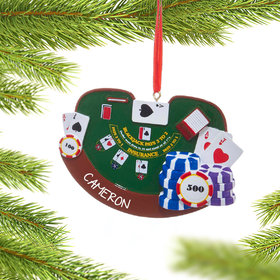 Personalized Blackjack Gambler Christmas Ornament