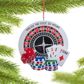 Personalized Roulette Gambler Christmas Ornament