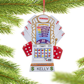 Personalized Slot Machine Gambler Christmas Ornament