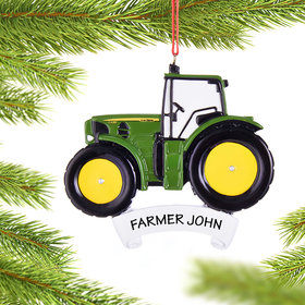 Personalized John Deere Green Tractor Christmas Ornament
