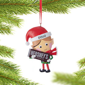 Personalized Hershey Candy Elf (Chocolate Bar) Christmas Ornament