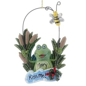 Personalized Pond Frog Christmas Ornament