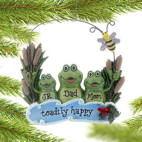 Personalized Pond Frog Family of 3 Christmas Ornament